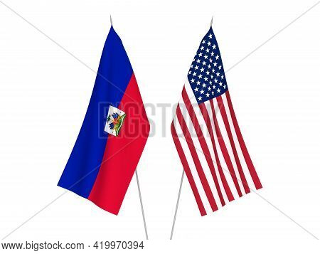 National Fabric Flags Of America And Republic Of Haiti Isolated On White Background. 3d Rendering Il