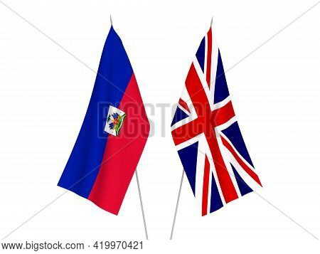 National Fabric Flags Of Great Britain And Republic Of Haiti Isolated On White Background. 3d Render