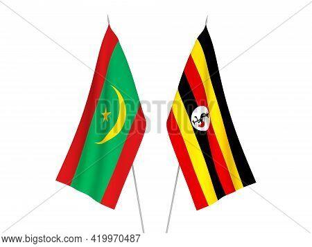 National Fabric Flags Of Uganda And Islamic Republic Of Mauritania Isolated On White Background. 3d