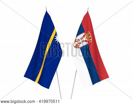 National Fabric Flags Of Serbia And Republic Of Nauru Isolated On White Background. 3d Rendering Ill