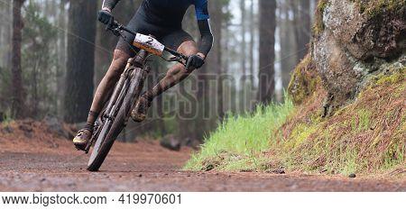 Mountain Biker Riding On Bike Singletrack Trail, , Mountain Bike Race