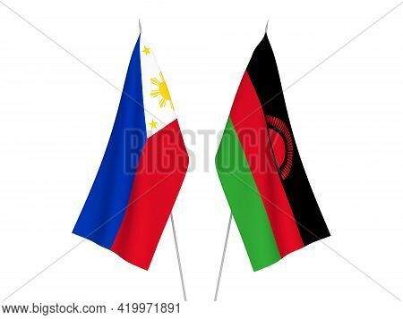 National Fabric Flags Of Philippines And Malawi Isolated On White Background. 3d Rendering Illustrat