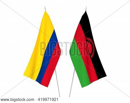 National Fabric Flags Of Colombia And Malawi Isolated On White Background. 3d Rendering Illustration