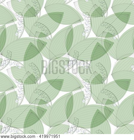 Black Silhouette Of A Lily Of The Valley With A Colored Shadow. Seamless Pattern For Packaging Paper