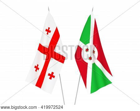 National Fabric Flags Of Georgia And Burundi Isolated On White Background. 3d Rendering Illustration
