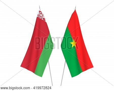 National Fabric Flags Of Belarus And Burkina Faso Isolated On White Background. 3d Rendering Illustr