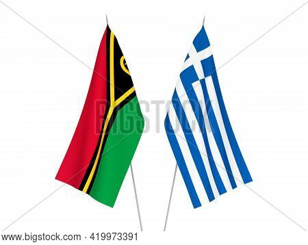 National Fabric Flags Of Greece And Republic Of Vanuatu Isolated On White Background. 3d Rendering I