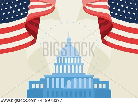 Banner With Us Capitol And Flags. Concept Art Of Usa Public Holiday.