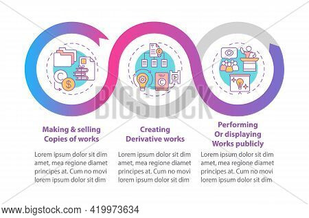 Unique Author Rights Vector Infographic Template. Making, Selling Works Copies Presentation Design E
