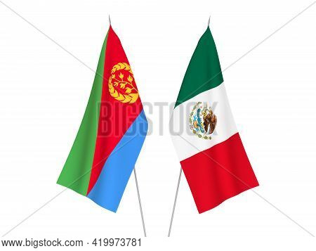 National Fabric Flags Of Eritrea And Mexico Isolated On White Background. 3d Rendering Illustration.