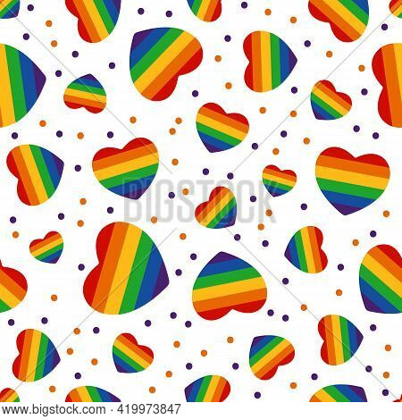 Seamless Pattern With Gay Rainbow Heart. Lgbt Pride Symbol. Design Element For Fabric, Banner, Wallp
