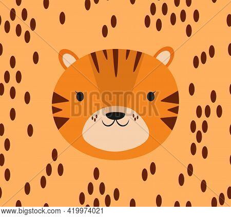 Cute Seamless Pattern With Baby Tiger Face Portrait In Simple Flat Style On Beige Background. Sweet