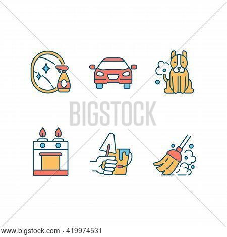 Home Cleaning And Maintenance Rgb Color Icons Set. Sweeping. Pet Dander. Chemical Household Products