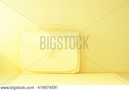 Plain Yellow Briefcase With Beam Of Light. 3d Rendering