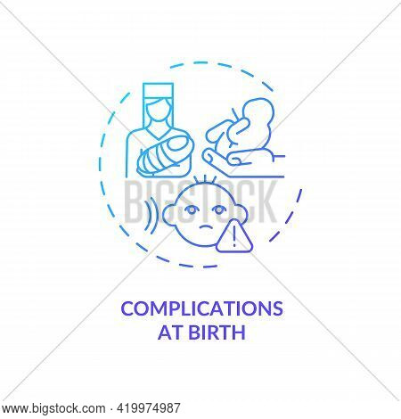 Complications At Birth Concept Icon. Hearing Loss Cause Idea Thin Line Illustration. Infant Babble A