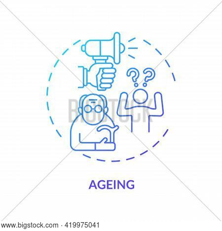 Ageing Concept Icon. Hearing Loss Cause Idea Thin Line Illustration. Age-related Deafness. Difficult