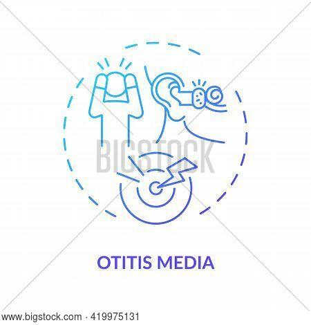 Otitis Media Concept Icon. Acquired Hearing Loss Idea Thin Line Illustration. High Temperature. Vira