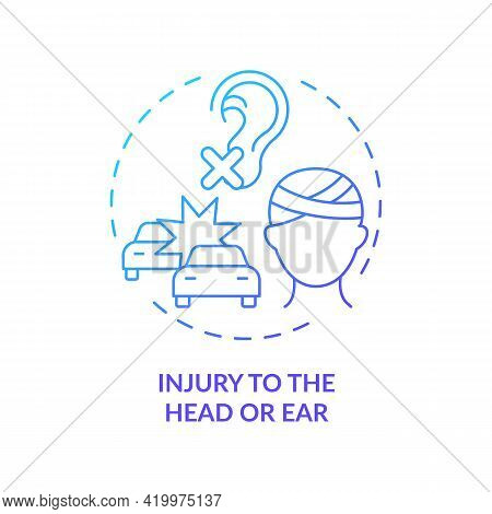 Injury To Head And Ear Concept Icon. Acquired Hearing Loss Cause Idea Thin Line Illustration. Tinnit