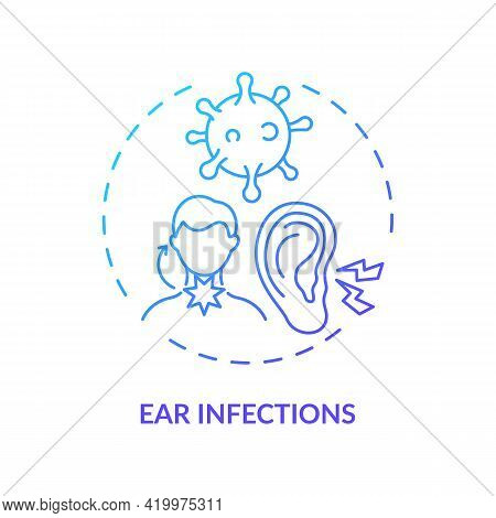Ear Infections Concept Icon. Acute Otitis Media Idea Thin Line Illustration. Painful Conditions In E