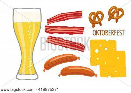 Oktoberfest Collection. Beer Bar. Vector Beer Glass And Snacks, Bavarian Sausages, Bacon, Pretzel, C