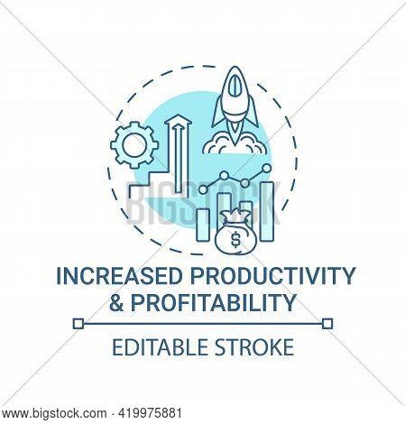 Increased Productivity And Profitability Concept Icon. Company Ethos Idea Thin Line Illustration. Dr