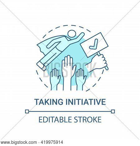 Taking Initiative Concept Icon. Basic Corporate Core Value Idea Thin Line Illustration. New And Crea