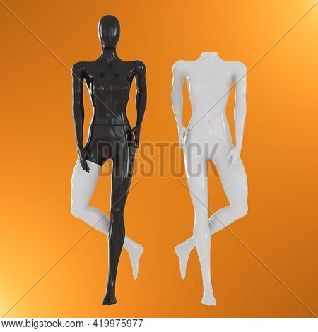 A Black Female Mannequin With A White Leg And A White Headless Mannequin Stand Against An Orange Bac