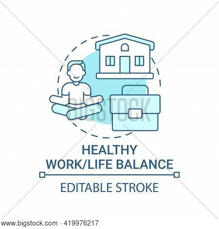 Healthy Work-life Balance Concept Icon. Personal Value Idea Thin Line Illustration. Mental Health In
