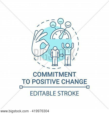 Commitment To Positive Change Concept Icon. Corporate Core Value Idea Thin Line Illustration. Mainta