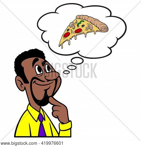 Man Thinking About A Slice Of Pizza - A Cartoon Illustration Of A Man Thinking About A Slice Of Pizz