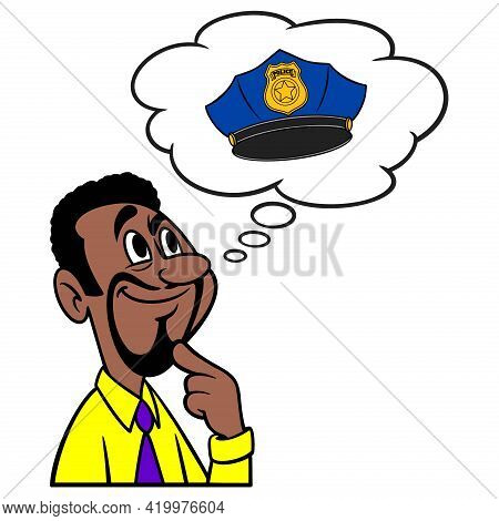 Man Thinking About Becoming A Police Officer - A Cartoon Illustration Of A Man Thinking About Becomi