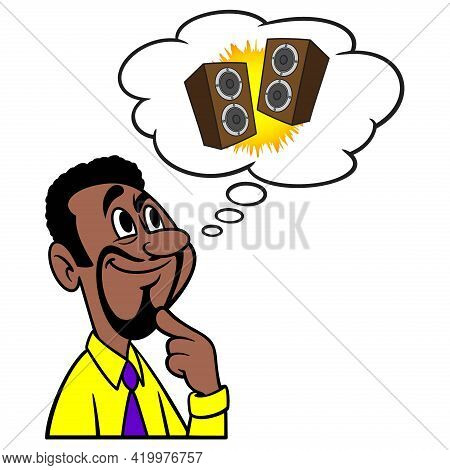 Man Thinking About Stereo Speakers - A Cartoon Illustration Of A Man Thinking About Stereo Speakers.