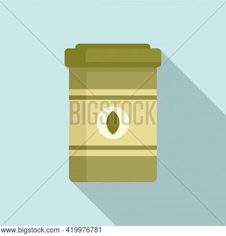 Fertilizer Capsule Jar Icon. Flat Illustration Of Fertilizer Capsule Jar Vector Icon For Web Design