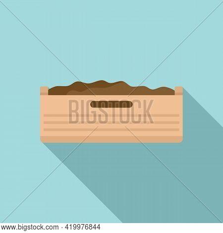 Fertilizer Wood Box Icon. Flat Illustration Of Fertilizer Wood Box Vector Icon For Web Design