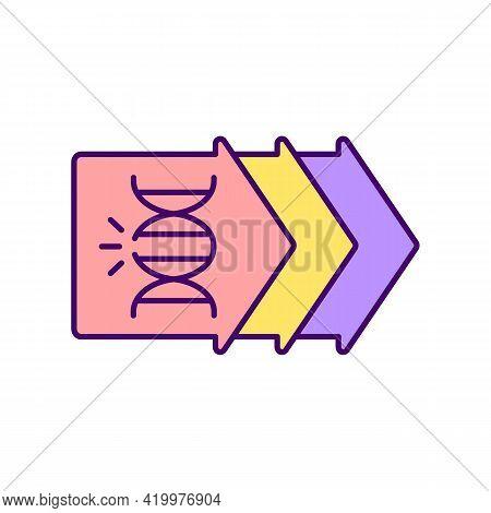 Genetic Evolution Rgb Color Icon. Biotechnological Research. Gene Development. Human Genome. Chromos