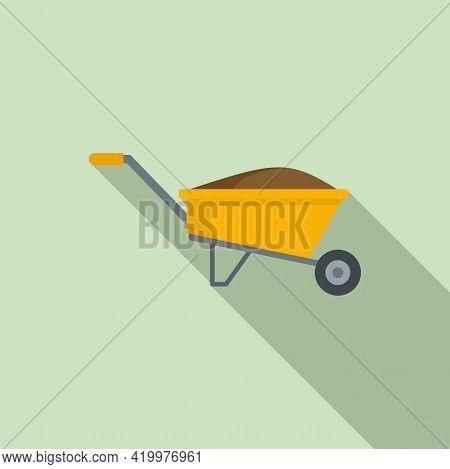 Compost Wheelbarrow Icon. Flat Illustration Of Compost Wheelbarrow Vector Icon For Web Design
