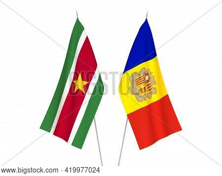 National Fabric Flags Of Andorra And Suriname Isolated On White Background. 3d Rendering Illustratio