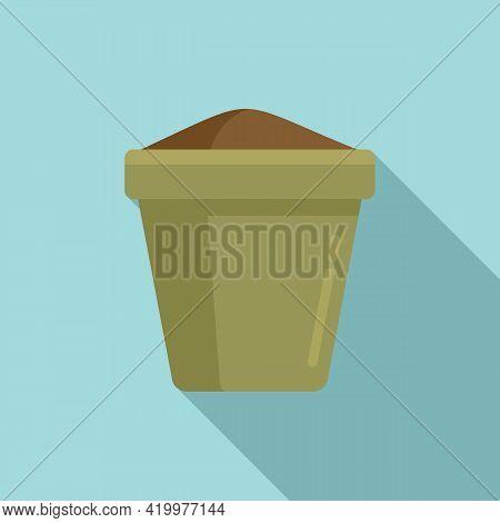 Fertilizer Plant Pot Icon. Flat Illustration Of Fertilizer Plant Pot Vector Icon For Web Design