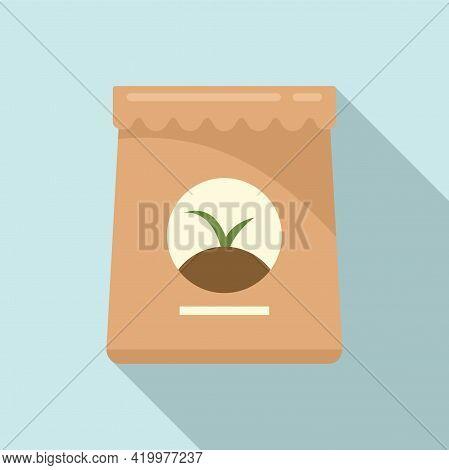 Fertilizer Bag Icon. Flat Illustration Of Fertilizer Bag Vector Icon For Web Design