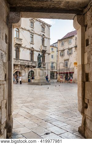Trogir, Croatia - September 11, 2019: Trogir old town in Dalmatia, Croatia