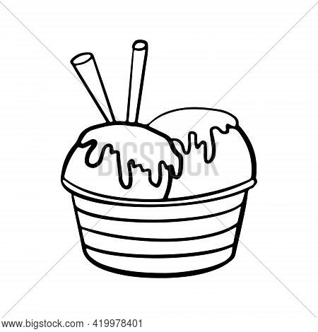 Hand Drawn Ice Cream Balls Served In Paper Bowl Decorated With Syrup And Cinnamon Sticks. Vector Han