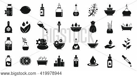 Essential Oils Icons Set. Simple Set Of Essential Oils Vector Icons For Web Design On White Backgrou