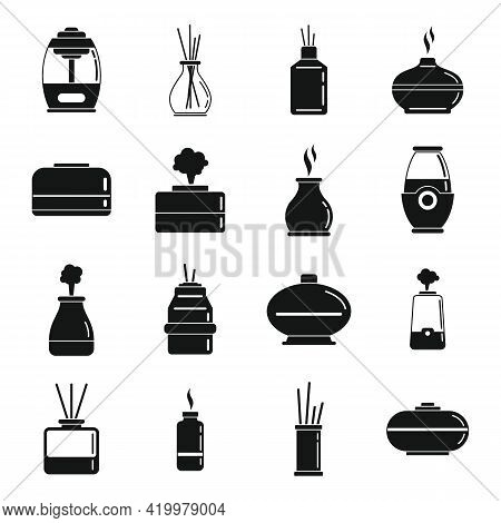 Diffuser Aroma Icons Set. Simple Set Of Diffuser Aroma Vector Icons For Web Design On White Backgrou