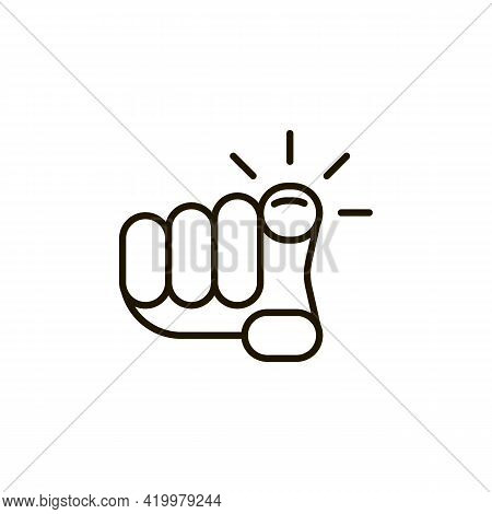 Hand Pointer On You Icon, Point Finger Direction. Cursor Sign With Finger For Click. Vector
