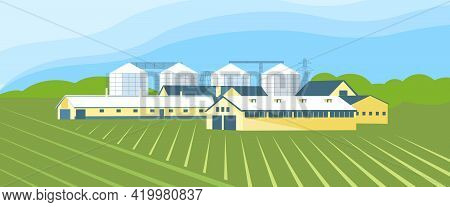 Panorama Of An Agricultural Complex With A Grain Storage And Agricultural Hangars On The Background
