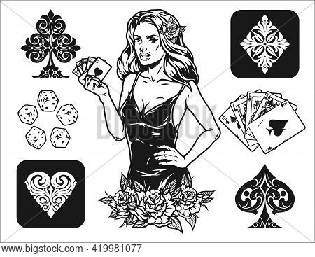 Gambling And Casino Vintage Composition With Pretty Lady Holding Royal Flush Poker Hand Roses Playin