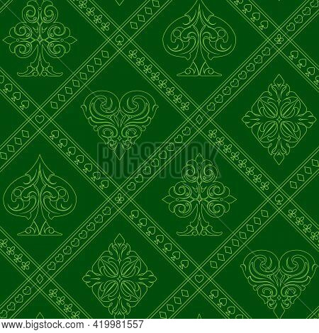Playing Cards Suits Vintage Seamless Pattern In Green Colors Vector Illustration