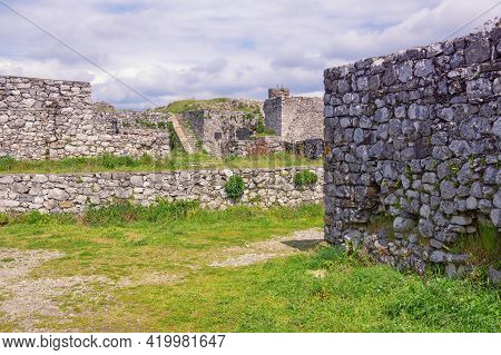 Ancient Fortifications. Albania, Shkoder City. Ruined Walls Of Old Fortress Rozafa Castle