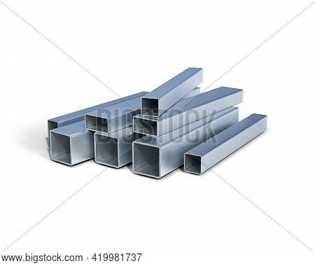 Aluminium Square Tube Profile In Different Scales, 3d Illustration