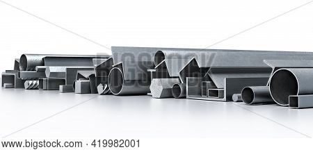 Stack Of Long Metal Profiles And Shapes On A White Reflective Floor, 3d Illustration